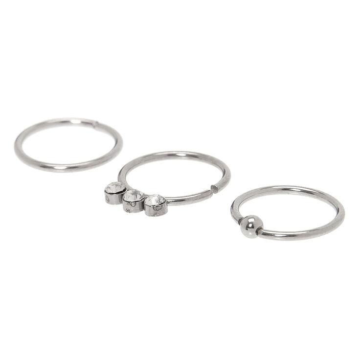 Silver 20G Triple Crystal Hoop Nose Rings - 3 Pack,