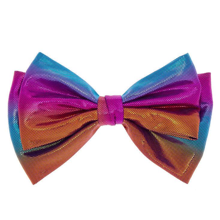 Anodized Metallic Hair Bow Clip - Rainbow,