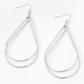 "Silver 2.5"" Double Teardrop Drop Earrings,"