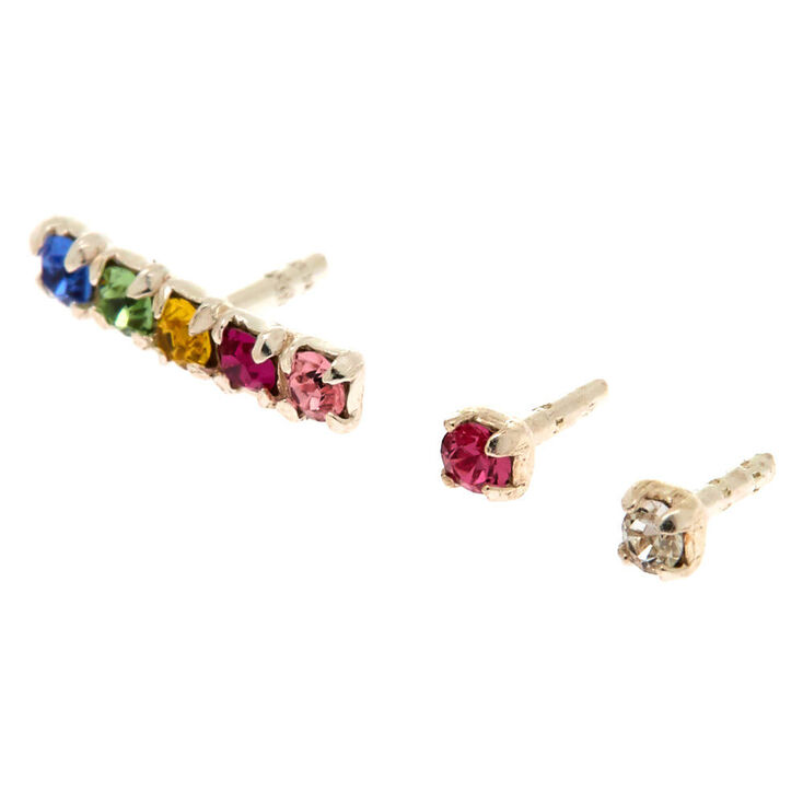 Rainbow Bar Cartilage Earring Set - 3 Pack,