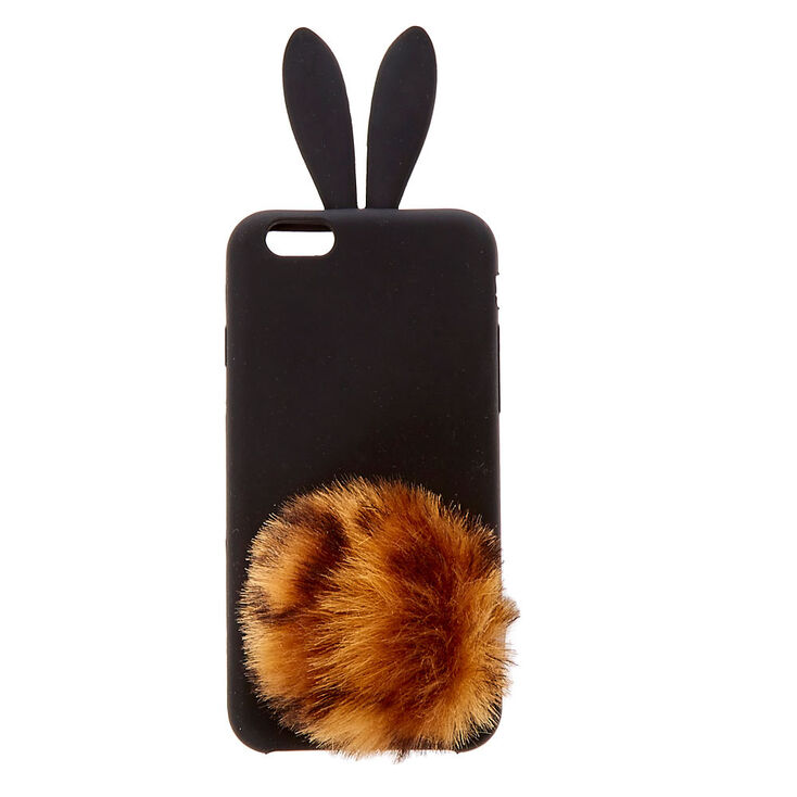 Leopard Pom Silicone Bunny Phone Case - Fits iPhone 6/7/8,