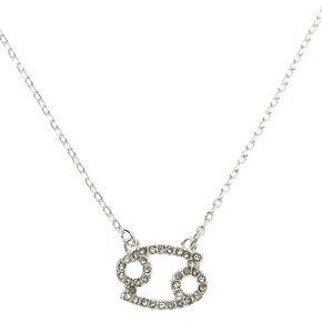 Silver Zodiac Pendant Necklace - Cancer,