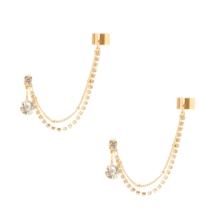 Gold Crystal Chains Front Back Ear Cuff Earrings