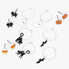 Silver Halloween Stud & Hoop Earrings - 6 Pack,