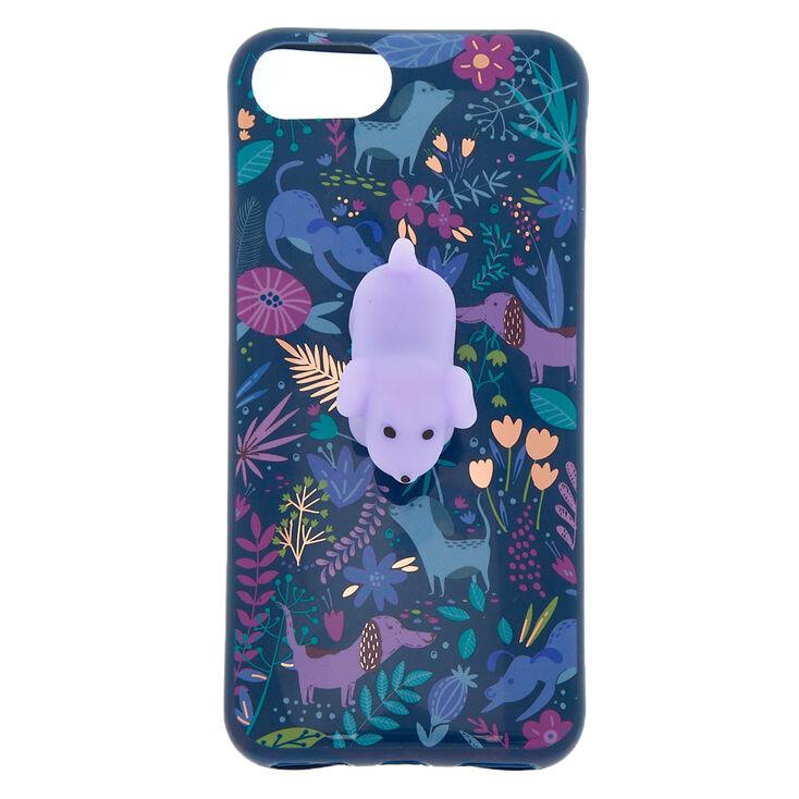 Floral Dog Squishy Phone Case - Blue,