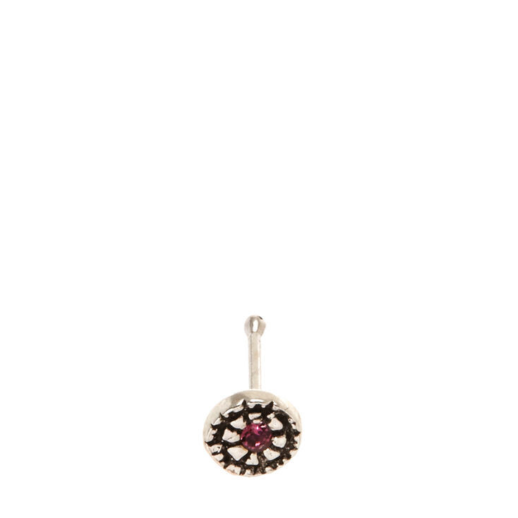 925 Sterling Silver Pink Stone Nose Stud,