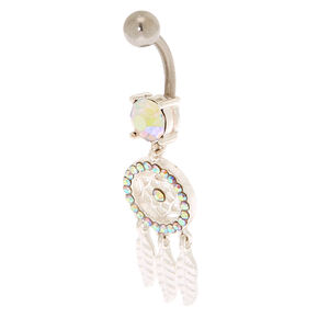 Silver 14G Iridescent Stone Dreamcatcher Belly Ring,