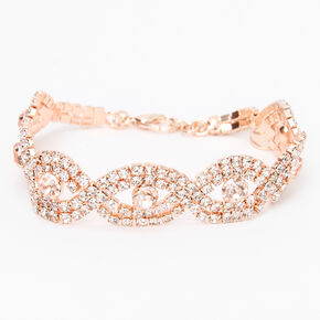 Rose Gold Rhinestone Evil Eye Bracelet,