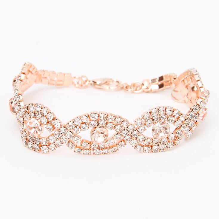 1920s Headband, Headpiece & Hair Accessory Styles Icing Rose Gold Rhinestone Evil Eye Bracelet $14.99 AT vintagedancer.com