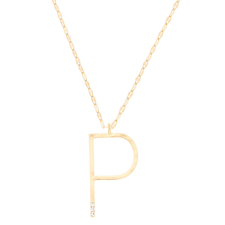 Gold Large Initial Pendant Necklace - P,
