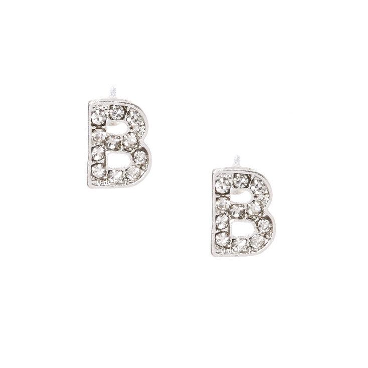 "Silver Tone Faux Crystal Initial ""B"" Stud Earrings,"
