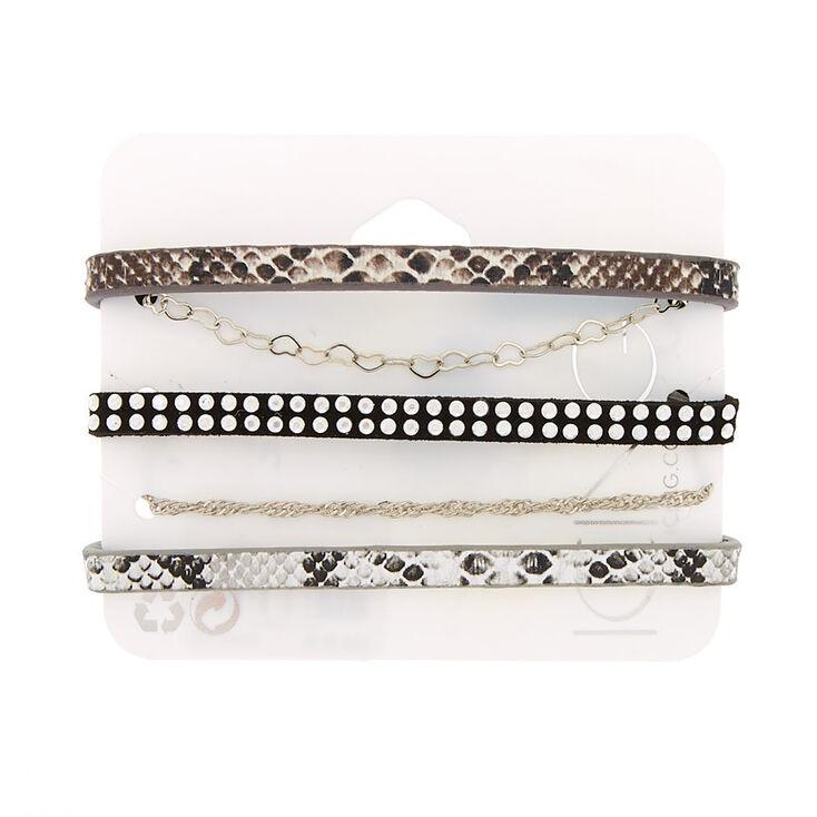 Silver Snakeskin Bracelets - 5 Pack,