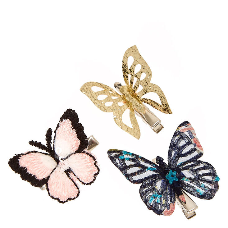 Delicate Gold, Pink, & Floral Butterfly Hair Clips,