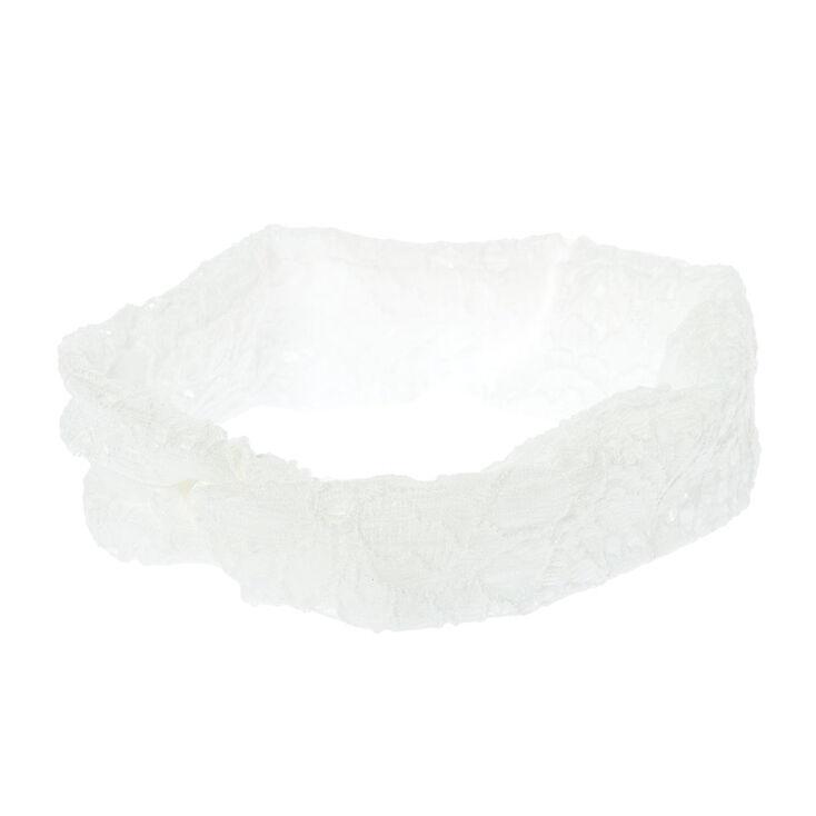 White Floral Lace Headwrap,
