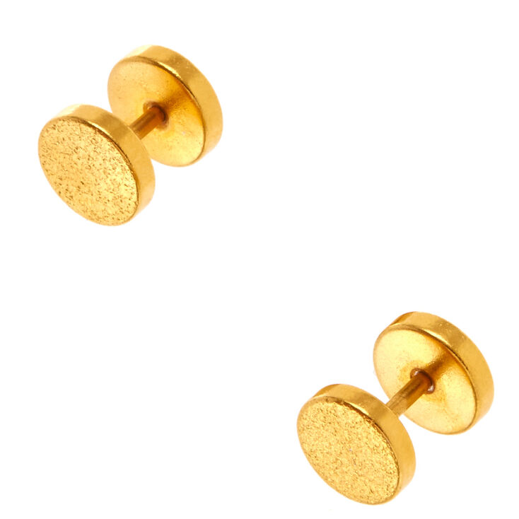 18G Gold Textured Faux Ear Plugs,