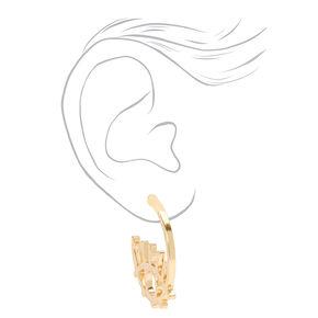 Gold 30MM Evil Eye Hammered Hoop Earrings,