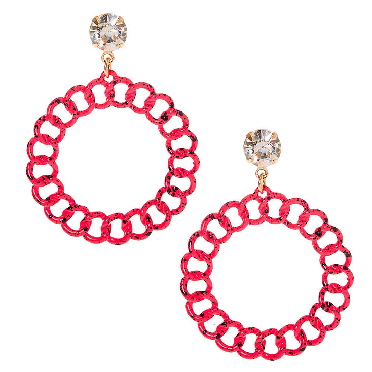 "3"" Chain Llink Drop Earrings - Pink,"