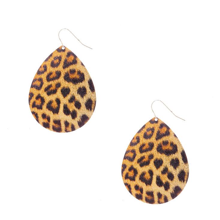 Leopard Print Teardrop Drop Earrings