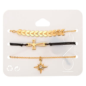 Gold Mixed Symbol Bracelets - 3 Pack,