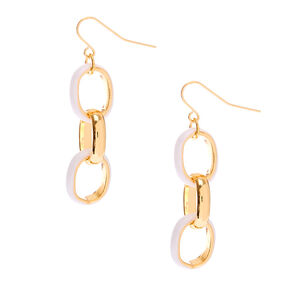 "Gold 1.5"" Enamel Link Drop Earrings - White,"