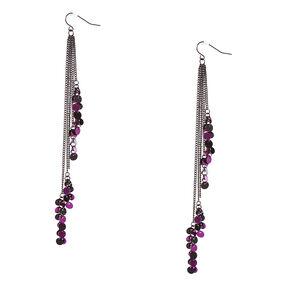 Black Chain & Purple Sequin Drop Earrings,