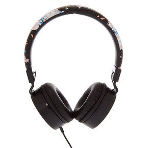 Floral Headphones - Black,