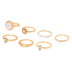 Brushed Gold Pearl Rings - 7 Pack,