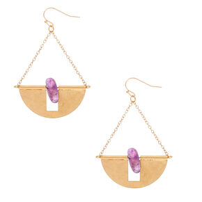 "Gold 2"" Amethyst Stone Half Circle Drop Earrings - Purple,"