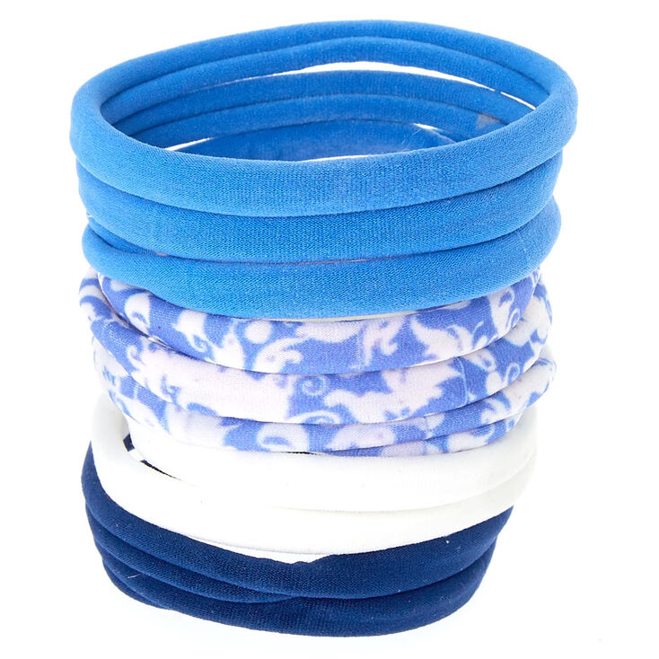 Blue & White Rolled Hair Ties,