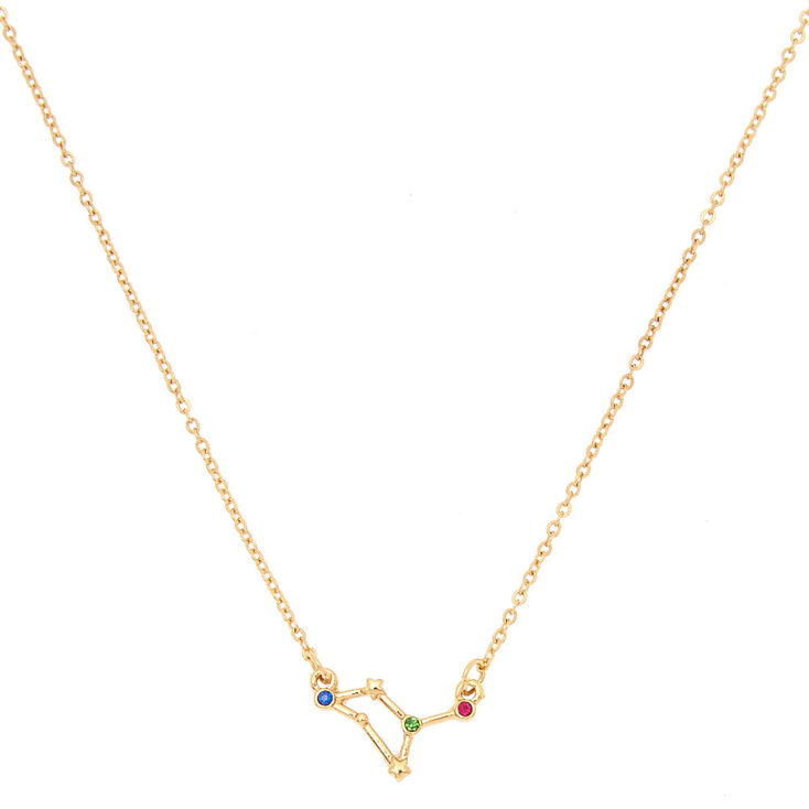 Gold Zodiac Constellation Pendant Necklace - Leo,