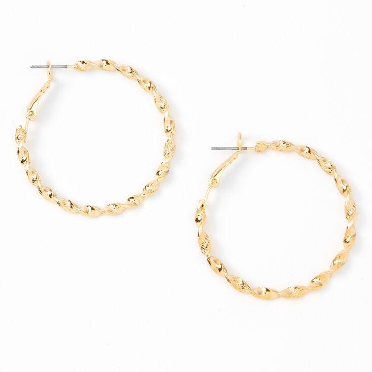 Gold 40MM Twisted Textured Hoop Earrings,