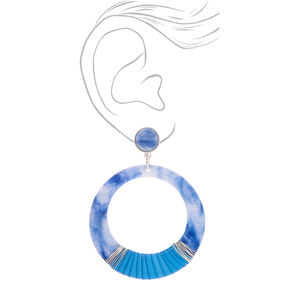 "Silver 2.5"" Round Threaded Resin Drop Earrings - Blue,"