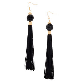"5"" Vintage Design Tassel Drop Earrings - Black,"