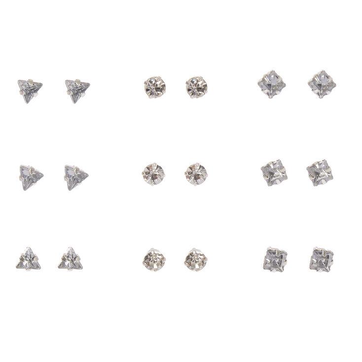 Clear Geometric Crystal Stud Earrings,