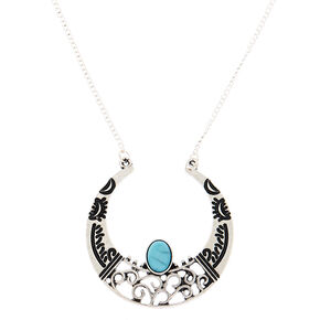 Silver Crescent Moon Long Pendant Necklace,