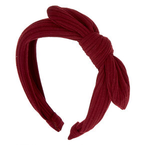 Ribbed Knot Bow Headband - Burgundy,