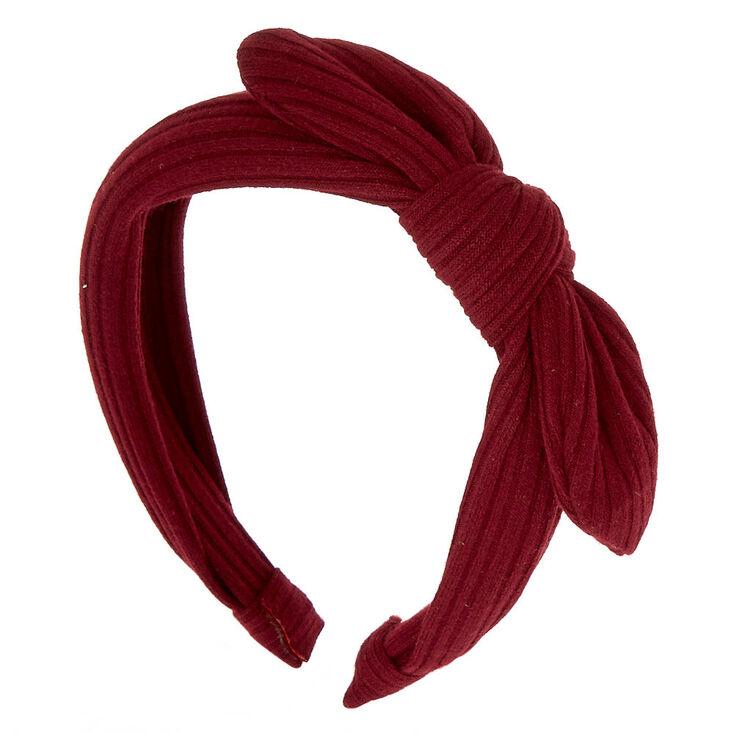 Ribbed Knot Bow Headband - Burgundy,