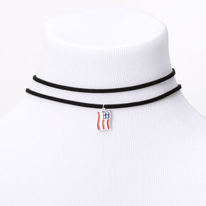 American Flag Double Row Choker Necklace,