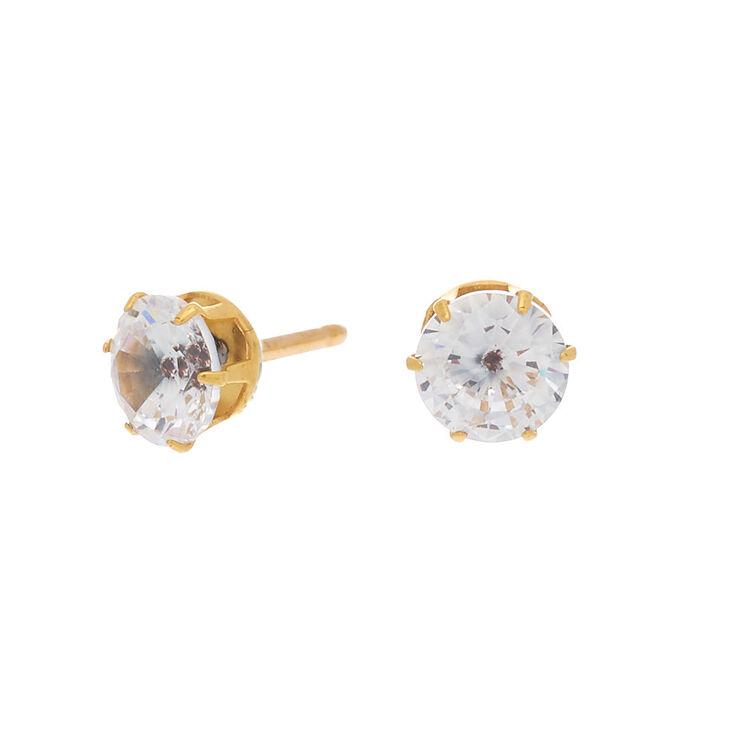 Gold Titanium Cubic Zirconia 7MM Round Stud Earrings,