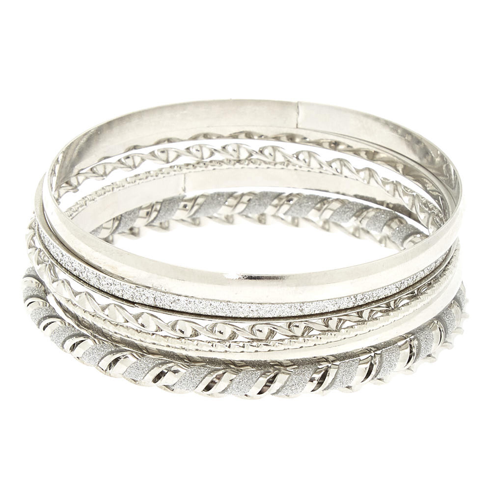 Silver Glitter Twist Bangle Bracelets 7 Pack