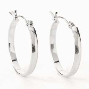 Silver 25MM Thick Hoop Earrings,