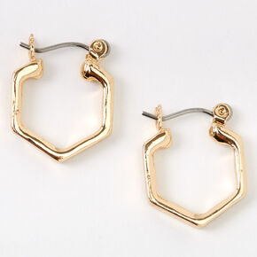 Gold 15MM Hexagon Hinge Hoop Earrings,