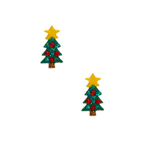 Sterling Silver Christmas Tree Stud Earrings,