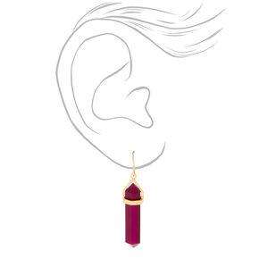 "Crystal 1.5"" Drop Earrings - Purple,"