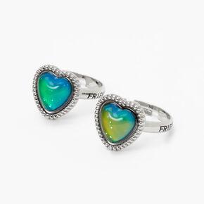 Silver Best Friends Heart Mood Rings - 2 Pack,