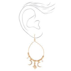 """Gold 2"""" Moon and Stars Teardrop Drop Earrings,"""