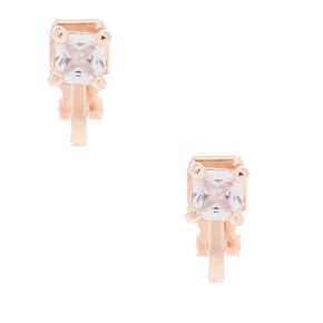 Rose Gold Cubic Zirconia 5MM Square Clip On Stud Earrings,