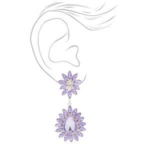 Crystal Flower Drop Earrings - Lavender,