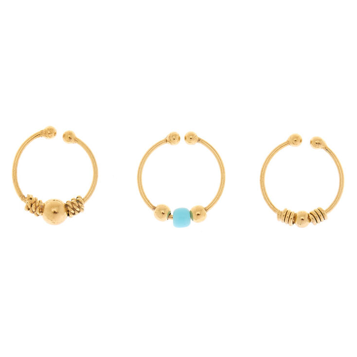 Gold Sterling Silver Beaded Faux Cartilage Hoop Earrings - Turquoise, 3 Pack,