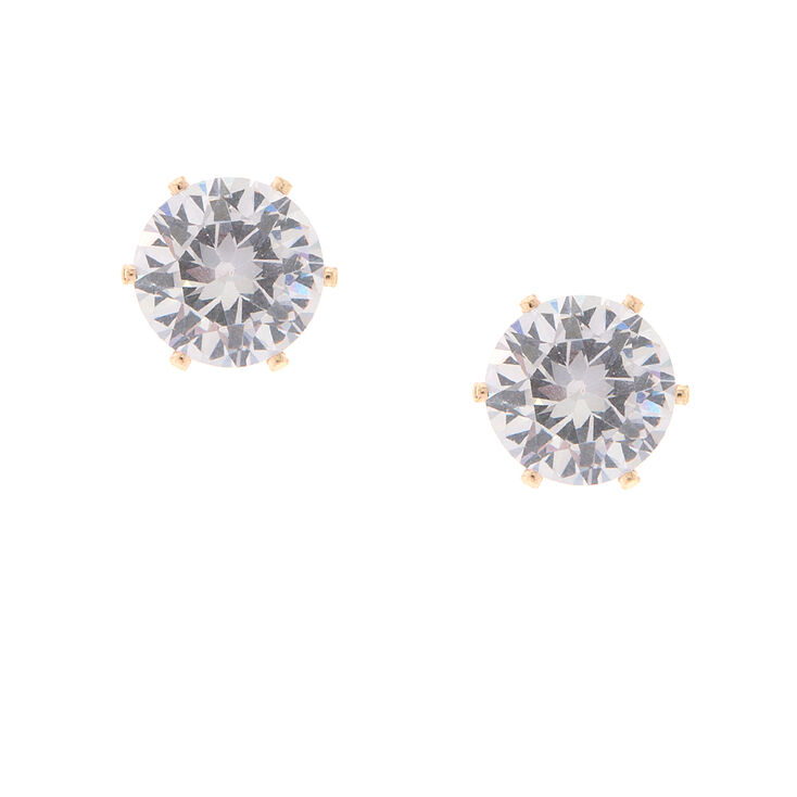 10MM Spike Set Cubic Zirconia Brilliant Cut Stud Earrings,